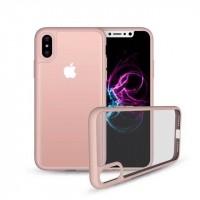 Силиконовый матовый полупрозрачный чехол для Iphone X 10  Розовый