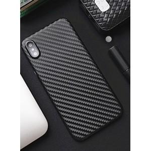 Жесткий силиконовый матовый непрозрачный чехол с текстурным покрытием Карбон для Iphone X 10/XS