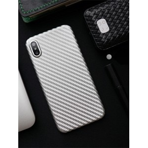 Жесткий силиконовый матовый непрозрачный чехол с текстурным покрытием Карбон для Iphone X 10/XS Белый