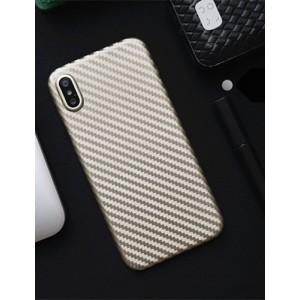 Жесткий силиконовый матовый непрозрачный чехол с текстурным покрытием Карбон для Iphone X 10/XS Бежевый