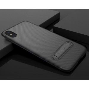 Силиконовый матовый непрозрачный чехол с встроенной ножкой-подставкой и текстурным покрытием Узоры для Iphone X 10/XS Черный