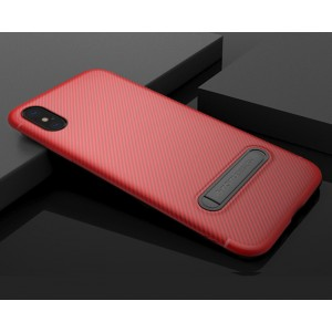 Силиконовый матовый непрозрачный чехол с встроенной ножкой-подставкой и текстурным покрытием Узоры для Iphone X 10/XS Красный