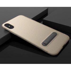 Силиконовый матовый непрозрачный чехол с встроенной ножкой-подставкой и текстурным покрытием Узоры для Iphone X 10/XS Бежевый