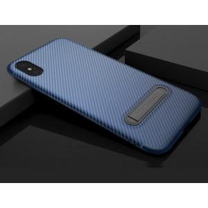 Силиконовый матовый непрозрачный чехол с встроенной ножкой-подставкой и текстурным покрытием Узоры для Iphone X 10/XS Синий