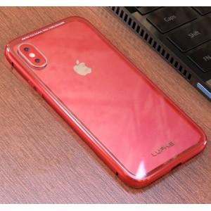 Двухкомпонентный чехол c металлическим бампером и накладкой из закаленного стекла для Iphone X 10/XS Красный