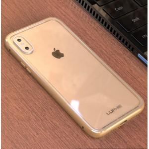 Двухкомпонентный чехол c металлическим бампером и накладкой из закаленного стекла для Iphone X 10/XS Бежевый