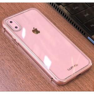Двухкомпонентный чехол c металлическим бампером и накладкой из закаленного стекла для Iphone X 10/XS