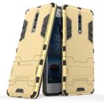 Противоударный двухкомпонентный силиконовый матовый непрозрачный чехол с поликарбонатными вставками экстрим защиты с встроенной ножкой-подставкой для Nokia 8