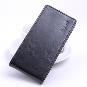 Глянцевый водоотталкивающий чехол вертикальная книжка на пластиковой основе на магнитной защелке для Philips W6610 Xenium  Черный