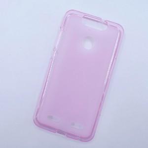 Силиконовый матовый полупрозрачный чехол для ZTE Blade V8 Lite Розовый