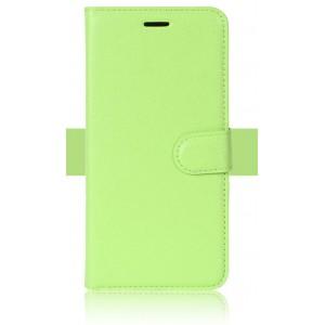 Чехол портмоне подставка на силиконовой основе с отсеком для карт на магнитной защелке для ZTE Blade V8 Lite Зеленый
