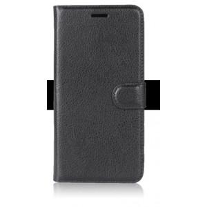 Чехол портмоне подставка на силиконовой основе с отсеком для карт на магнитной защелке для ZTE Blade V8 Lite Черный