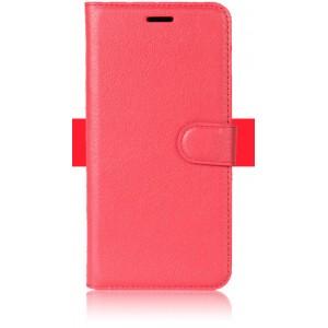 Чехол портмоне подставка на силиконовой основе с отсеком для карт на магнитной защелке для ZTE Blade V8 Lite Красный
