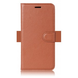 Чехол портмоне подставка на силиконовой основе с отсеком для карт на магнитной защелке для ZTE Blade V8 Lite Коричневый