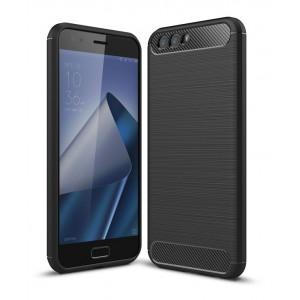 Силиконовый матовый непрозрачный дизайнерский чехол с текстурным покрытием Металлик для ASUS ZenFone 4 ZE554KL  Черный
