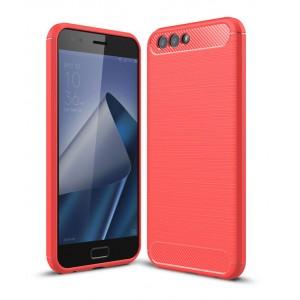 Силиконовый матовый непрозрачный дизайнерский чехол с текстурным покрытием Металлик для ASUS ZenFone 4 ZE554KL  Красный