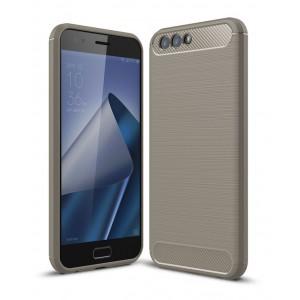 Силиконовый матовый непрозрачный дизайнерский чехол с текстурным покрытием Металлик для ASUS ZenFone 4 ZE554KL  Серый