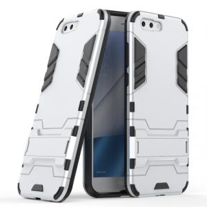 Противоударный силиконовый матовый непрозрачный чехол с поликарбонатными вставками экстрим защиты с встроенной ножкой-подставкой для ASUS ZenFone 4 ZE554KL  Белый
