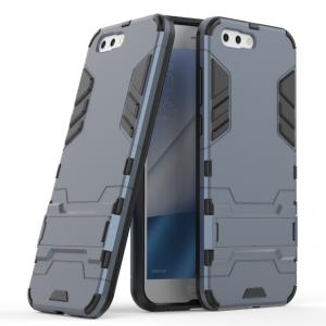 Противоударный силиконовый матовый непрозрачный чехол с поликарбонатными вставками экстрим защиты с встроенной ножкой-подставкой для ASUS ZenFone 4 ZE554KL  Синий