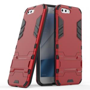 Противоударный силиконовый матовый непрозрачный чехол с поликарбонатными вставками экстрим защиты с встроенной ножкой-подставкой для ASUS ZenFone 4 ZE554KL  Красный