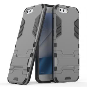 Противоударный силиконовый матовый непрозрачный чехол с поликарбонатными вставками экстрим защиты с встроенной ножкой-подставкой для ASUS ZenFone 4 ZE554KL  Серый