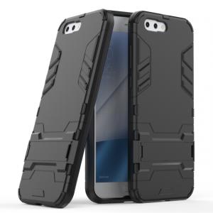 Противоударный силиконовый матовый непрозрачный чехол с поликарбонатными вставками экстрим защиты с встроенной ножкой-подставкой для ASUS ZenFone 4 ZE554KL  Черный