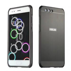 Двухкомпонентный чехол c металлическим бампером с поликарбонатной накладкой и отверстием для логотипа для ASUS ZenFone 4 ZE554KL Черный