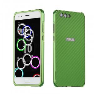 Двухкомпонентный чехол c металлическим бампером с поликарбонатной накладкой и текстурным покрытием Карбон для ASUS ZenFone 4 ZE554KL  Зеленый
