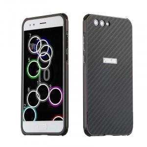 Двухкомпонентный чехол c металлическим бампером с поликарбонатной накладкой и текстурным покрытием Карбон для ASUS ZenFone 4 ZE554KL  Черный
