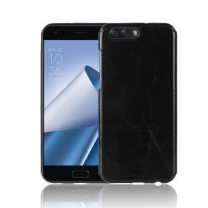 Силиконовый непрозрачный чехол с текстурным покрытием Кожа для ASUS ZenFone 4 ZE554KL  Черный