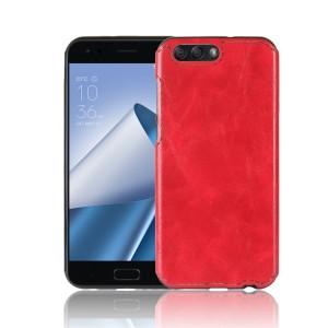 Силиконовый непрозрачный чехол с текстурным покрытием Кожа для ASUS ZenFone 4 ZE554KL  Красный