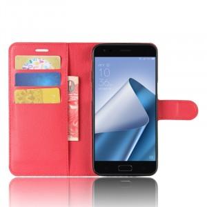 Чехол портмоне подставка на силиконовой основе с отсеком для карт на магнитной защелке для ASUS ZenFone 4 ZE554KL Красный