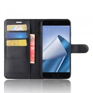 Чехол портмоне подставка на силиконовой основе с отсеком для карт на магнитной защелке для ASUS ZenFone 4 ZE554KL Черный