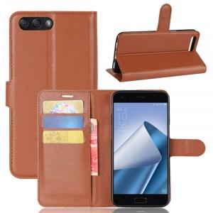 Чехол портмоне подставка на силиконовой основе с отсеком для карт на магнитной защелке для ASUS ZenFone 4 ZE554KL Коричневый