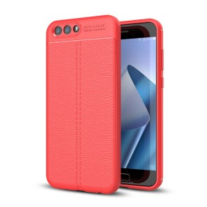 Силиконовый матовый непрозрачный чехол с текстурным покрытием Кожа для ASUS ZenFone 4 ZE554KL Красный