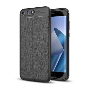 Силиконовый матовый непрозрачный чехол с текстурным покрытием Кожа для ASUS ZenFone 4 ZE554KL Черный