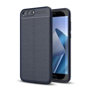 Силиконовый матовый непрозрачный чехол с текстурным покрытием Кожа для ASUS ZenFone 4 ZE554KL Синий