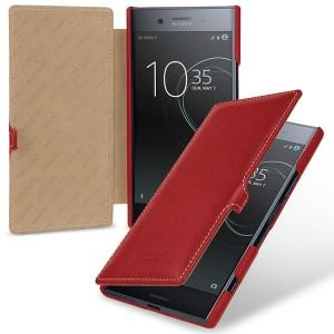 Кожаный чехол горизонтальная книжка (премиум нат. кожа) с крепежной застежкой для Sony Xperia XZ Premium