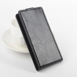 Чехол вертикальная книжка на клеевой основе на магнитной защелке для Alcatel Idol 5  Черный