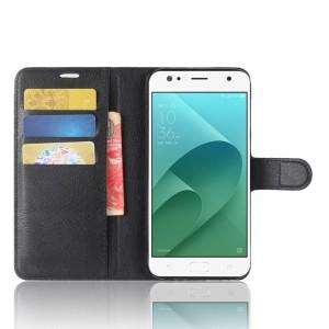 Чехол портмоне подставка на силиконовой основе с отсеком для карт на магнитной защелке для ASUS ZenFone 4 Selfie/Live ZB553KL Черный