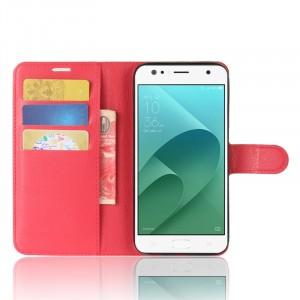 Чехол портмоне подставка на силиконовой основе с отсеком для карт на магнитной защелке для ASUS ZenFone 4 Selfie/Live ZB553KL Красный