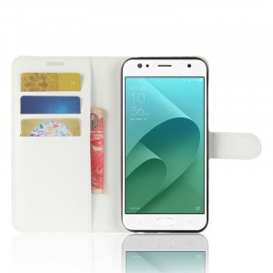 Чехол портмоне подставка на силиконовой основе с отсеком для карт на магнитной защелке для ASUS ZenFone 4 Selfie/Live ZB553KL Белый