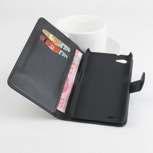 Чехол портмоне подставка текстура Линии на пластиковой основе с отсеком для карт на магнитной защелке для Philips W6610 Xenium  Черный