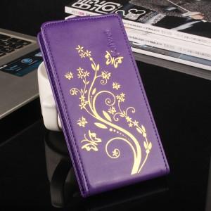 Винтажный чехол вертикальная книжка на пластиковой основе с полноповерхностным принтом на магнитной защелке для Philips W6610 Xenium  Фиолетовый