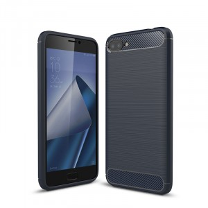 Силиконовый матовый непрозрачный дизайнерский фигурный чехол текстура Металлик для ASUS ZenFone 4 Max ZC520KL  Синий
