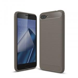 Силиконовый матовый непрозрачный дизайнерский фигурный чехол текстура Металлик для ASUS ZenFone 4 Max ZC520KL  Серый