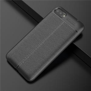 Силиконовый матовый непрозрачный чехол с текстурным покрытием Кожа для ASUS ZenFone 4 Max ZC520KL  Черный