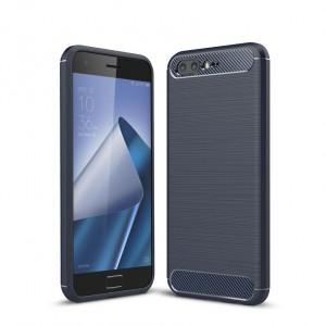 Силиконовый матовый непрозрачный дизайнерский фигурный чехол текстура Металлик для ASUS ZenFone 4 Pro  Синий
