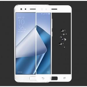 Полноэкранное ультратонкое износоустойчивое сколостойкое олеофобное защитное стекло-пленка для ASUS ZenFone 4 Pro Белый
