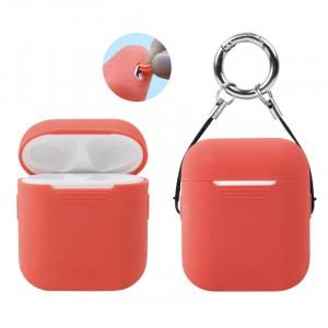 Силиконовый нескользящий софт-тач чехол для зарядного чехла AirPods Красный